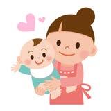Mãe que guarda delicadamente seu bebê ilustração royalty free