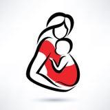 Mãe que guarda o bebê no estilingue ilustração stock