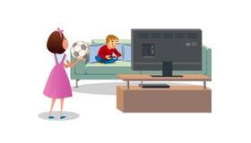 Mãe que pede que o filho jogue o vetor dos desenhos animados da bola ilustração stock