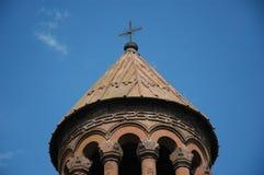 Mãe santamente do St da cruz da igreja do deus com fundo azul Imagem de Stock Royalty Free