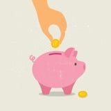 Mão abaixo de uma moeda no mealheiro Ilustração do vetor Fotos de Stock Royalty Free
