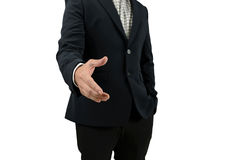 Mão aberta do homem de negócios para que o aperto de mão fça um acordo com o sócio isolado no fundo branco Fotografia de Stock