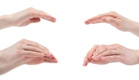 Mão aberta para a proteção isolada no fundo branco collage Imagens m?ltiplas imagens de stock