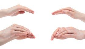 Mão aberta para a proteção isolada no fundo branco collage Imagens m?ltiplas foto de stock royalty free