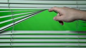 A mão abre o jalousie Tela verde filme
