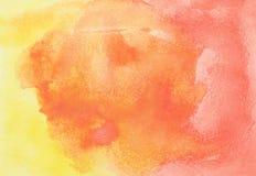 Mão abstrata aquarela alaranjada e vermelha tirada Imagens de Stock Royalty Free