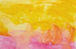 Mão abstrata aquarela alaranjada e vermelha tirada Fotos de Stock Royalty Free