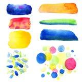 Mão abstrata a aquarela tirada borra o fundo Ilustração do vetor círculos coloridos bonitos da aquarela Fotografia de Stock Royalty Free