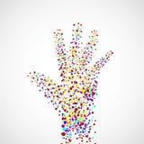 Mão abstrata do homem com pontos Fotografia de Stock Royalty Free