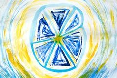 Mão abstrata fundo tirado da pintura: testes padrões bluefloral no contexto azul Grande para a textura da arte, projeto do grunge Fotos de Stock Royalty Free