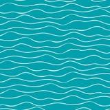 Mão abstrata ondas tiradas do mar da garatuja Teste padrão geométrico sem emenda do vetor no fundo do azul de oceano Grande para  ilustração royalty free