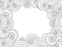 Mão abstrata quadro tirado, beira com fundo da onda do mar do esboço no branco Composição horizontal Foto de Stock