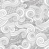 Mão abstrata teste padrão sem emenda tirado da onda da onda do esboço no estilo asiático do leste isolado no fundo branco Imagens de Stock