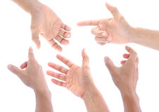 Mão ajustada no fundo branco, isolado Fotos de Stock