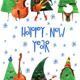 Mão alegre árvore de Natal tirada dos desenhos animados da aquarela Imagem de Stock