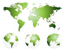 Mão altamente detalhada mapa e globos desenhados de mundo Fotografia de Stock Royalty Free