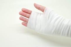mão amarrada com atadura elástica Fotos de Stock Royalty Free