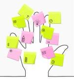Mão & notas pegajosas Imagem de Stock