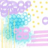 Mão artística criativa composição tirada com círculos, linhas, pontos, manchas, cursos da escova, borrões Fundo fresco ilustração royalty free