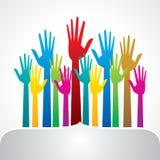 Mão ascendente colorida, conceito da democracia Imagem de Stock