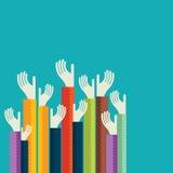 Mão ascendente colorida, conceito da democracia ilustração do vetor