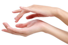 Mão asiática da mulher da beleza no relaxamento e na massagem Foto de Stock