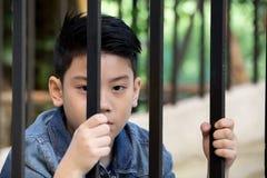 Mão asiática do menino na cadeia que olha para fora a janela Fotografia de Stock Royalty Free