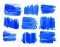 Mão azul abstrata backgroun criativo tirado da arte da pintura acrílica Fotografia de Stock Royalty Free