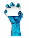 Mão azul do monstro Fotos de Stock