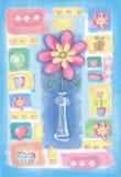 Mão bonita cartão tirado com flor em um vaso Imagem de Stock Royalty Free
