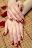 Mão bonita com manicure perfeito do vermelho do prego Imagens de Stock
