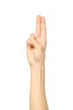 Mão bonita do ` s da mulher que mostra dois dedos imagem de stock