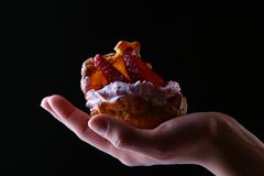 Mão bonita dos womans com fruitcake Fotografia de Stock