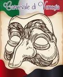 Mão bonita máscara tirada de Pantalone para o carnaval de Veneza do italiano, ilustração do vetor Fotografia de Stock Royalty Free