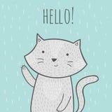 Mão bonito cartão tirado da garatuja com um gato que diga olá! Fotos de Stock Royalty Free