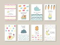 Mão bonito cartões tirados da festa do bebê da garatuja Fotos de Stock Royalty Free