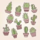 Mão bonito grupo tirado do cactuse do vetor ilustração stock