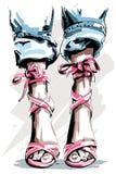 Mão bonito pés tirados nas sapatas Sapatas bonitas do verão ilustração do vetor