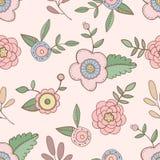 Mão bonito teste padrão de flores tirado Imagens de Stock Royalty Free