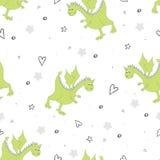 Mão bonito teste padrão sem emenda tirado com dragões engraçados Imagem de Stock Royalty Free