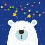 Mão bonito urso polar tirado com paz da cabeça da aro no fundo nevado com festão ilustração stock