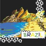 Mão brasileira esboço tirado Imagens de Stock Royalty Free