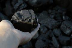Mão carbonosa que guarda a peça ensolarado da pedra de carvão Foto de Stock