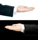 Mão caucasiano em um terno de negócio isolado Imagens de Stock Royalty Free