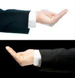 Mão caucasiano em um terno de negócio isolado Foto de Stock