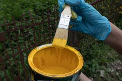 M?o coberta que mant?m uma escova embebida na pintura amarela, fluxos adicionais da pintura de novo na lata imagem de stock