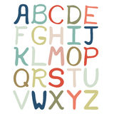 Mão colorida alfabeto abstrato tirado Alfabeto isolado, estilo liso, fonte isolada, tipo Imagens de Stock Royalty Free
