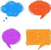 Mão colorida bolhas desenhadas do discurso e do pensamento Imagem de Stock Royalty Free