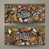 A mão colorida bonito do vetor dos desenhos animados tirada rabisca bandeiras de escola ilustração do vetor