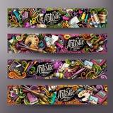 A mão colorida bonito do vetor dos desenhos animados tirada rabisca o projeto das bandeiras do artista ilustração stock